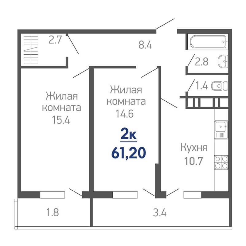 Планировка 2 комнатной квартиры на продажу, S = 61,20 / 30,00 м²