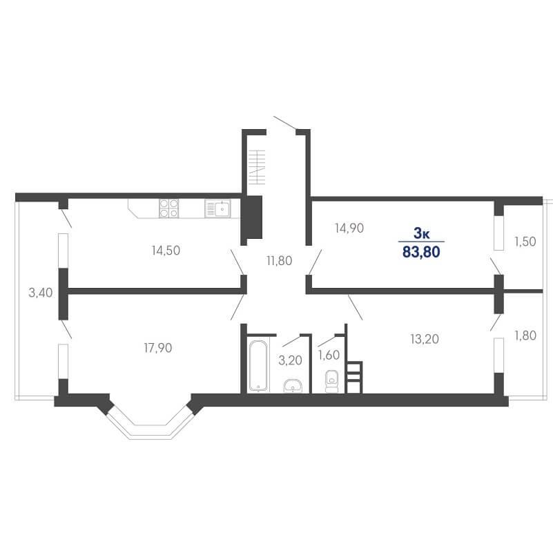 Планировка 3 комнатной квартиры на продажу, S = 83,80 / 46,00 м²