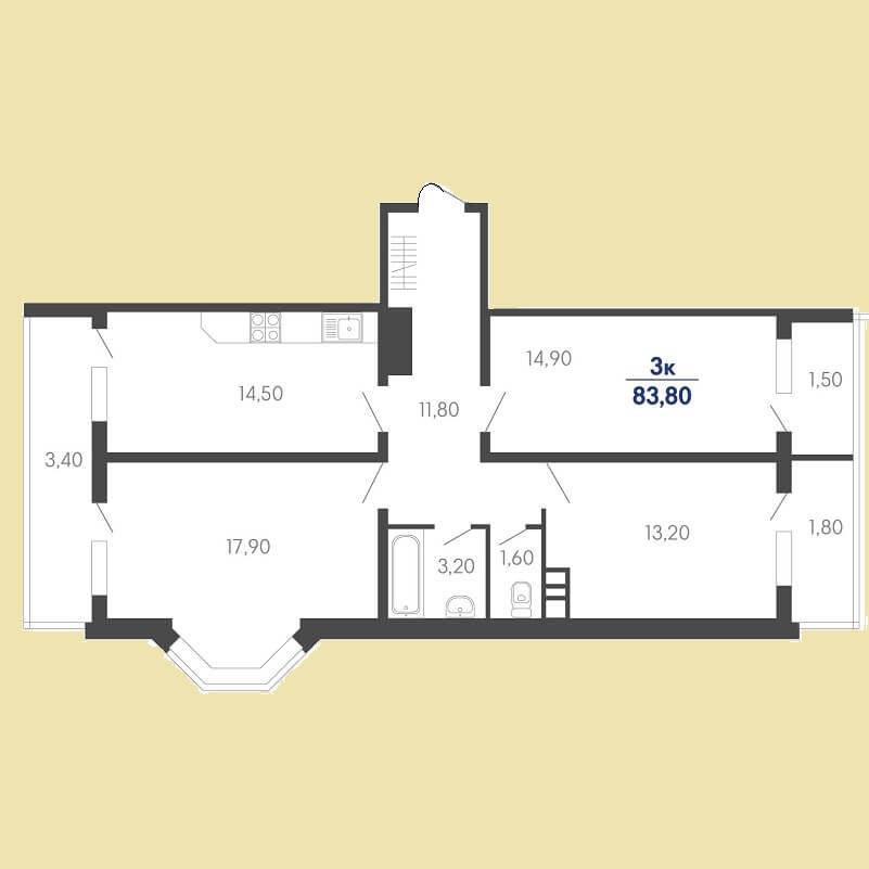 Планировка 3 комнатной квартиры № 57 на продажу, S = 83,80 / 46,00 м²