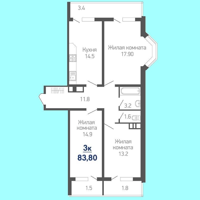 Планировка трехкомнатной квартиры № 643 на продажу, S = 83,80 / 46,00 м²