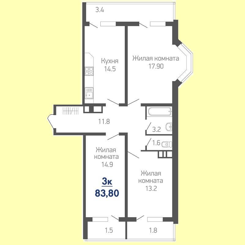 Планировка трехкомнатной квартиры № 654 на продажу, S = 83,80 / 46,00 м²