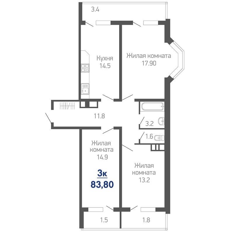 Планировка трехкомнатной квартиры № 665 на продажу, S = 83,80 / 46,00 м²