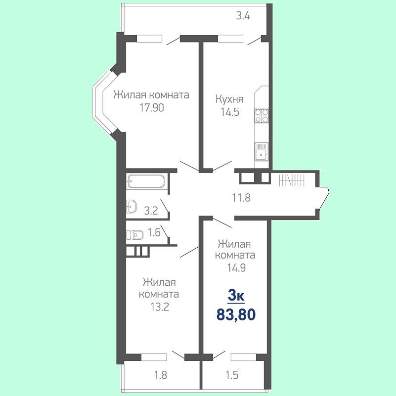Планировка 3 комнатной квартиры № 68 на продажу, S = 83,80 / 46,00 м²
