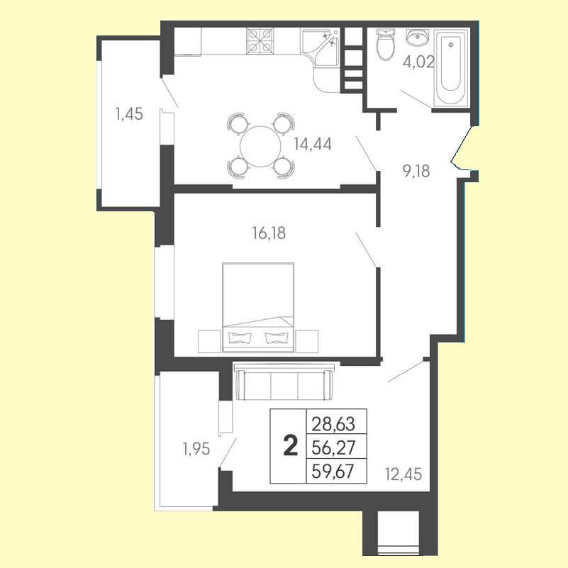 Планировка 2-к квартиры № 88 на продажу, S = 59,67 / 28,63 м²
