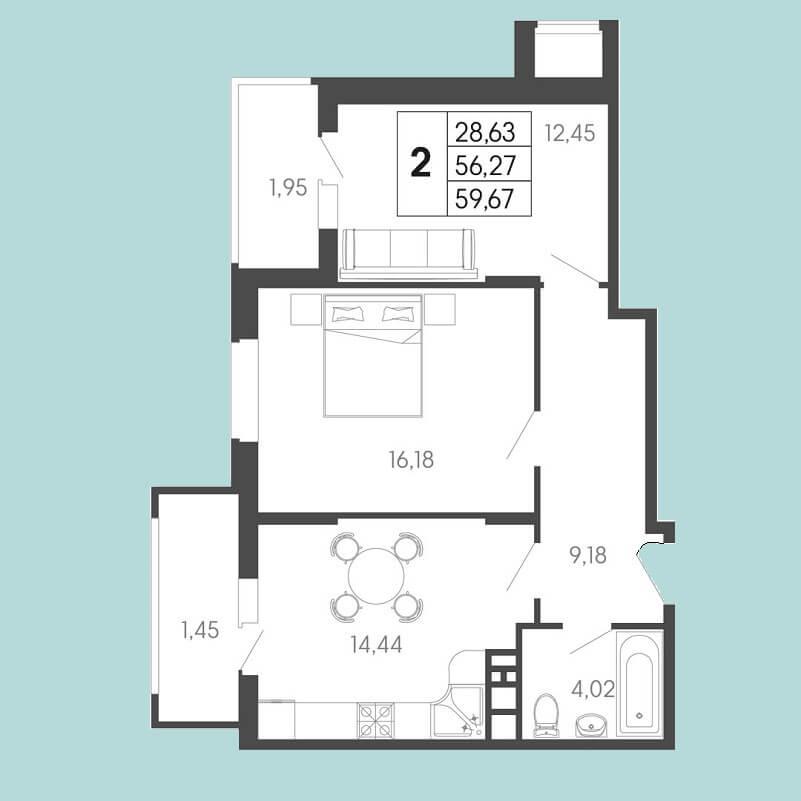 Планировка 2 комнатной квартиры № 138 на продажу, S = 59,67 / 28,63 м²
