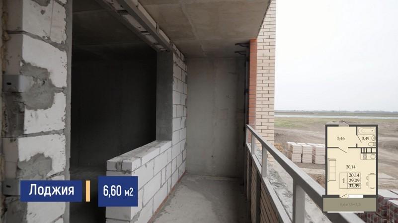 Планировка лоджии квартиры студии 32 м2, этаж 2, Литер 7, ЖК Родные просторы