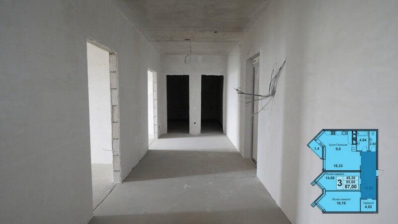Планировка прихожей 3-к квартиры европланировки 87 м2, этаж 6, Литер 9, ЖК Империал