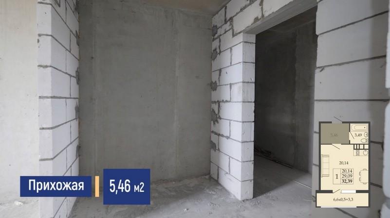 Планировка прихожей квартиры студии 32 м2, этаж 2, Литер 7, ЖК Родные просторы