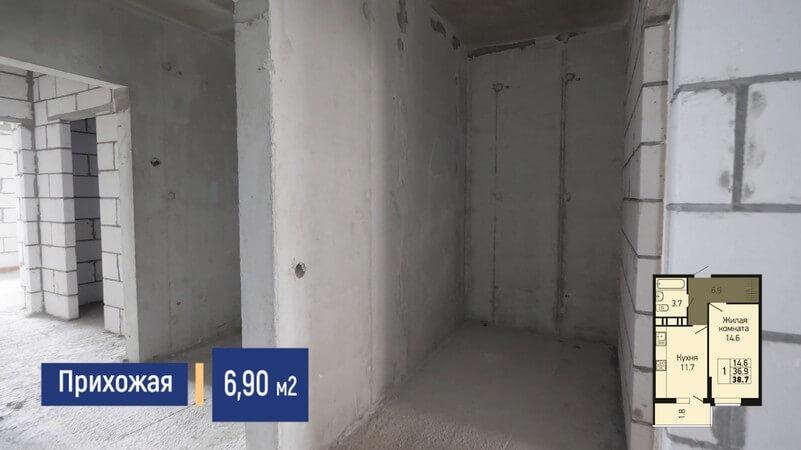 Планировка прихожей однокомнатной квартиры 38 м2 на продажу в Краснодаре, этаж 10, Литер 3, ЖК Абрикосово