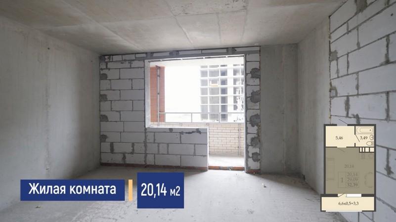Планировка жилой комнаты квартиры студии 32 м2, этаж 2, Литер 7, ЖК Родные просторы