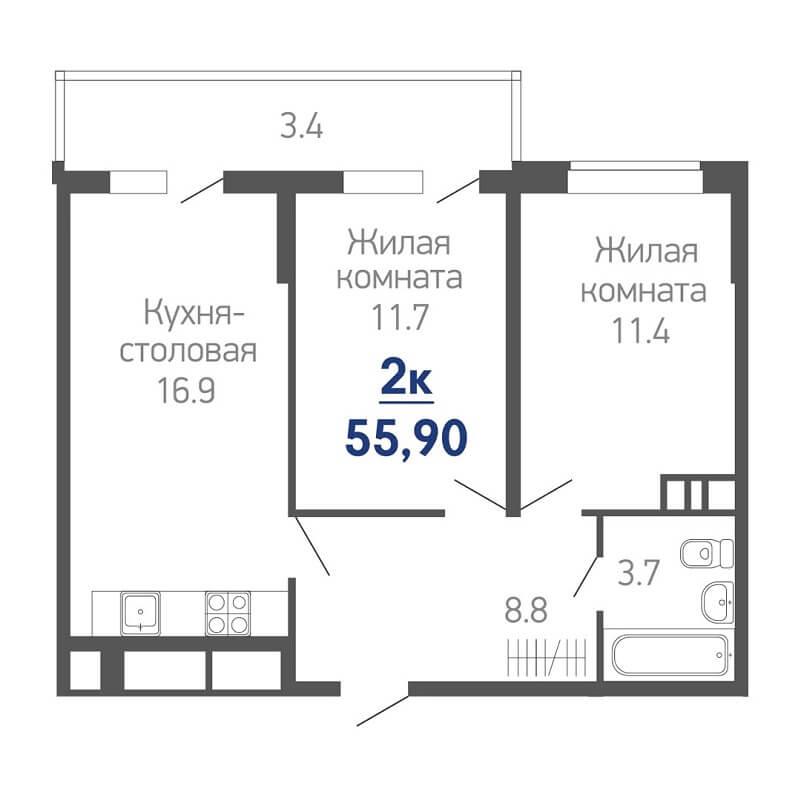 Планировка квартиры евродвушки на продажу, S = 55,90 / 23,10 м²