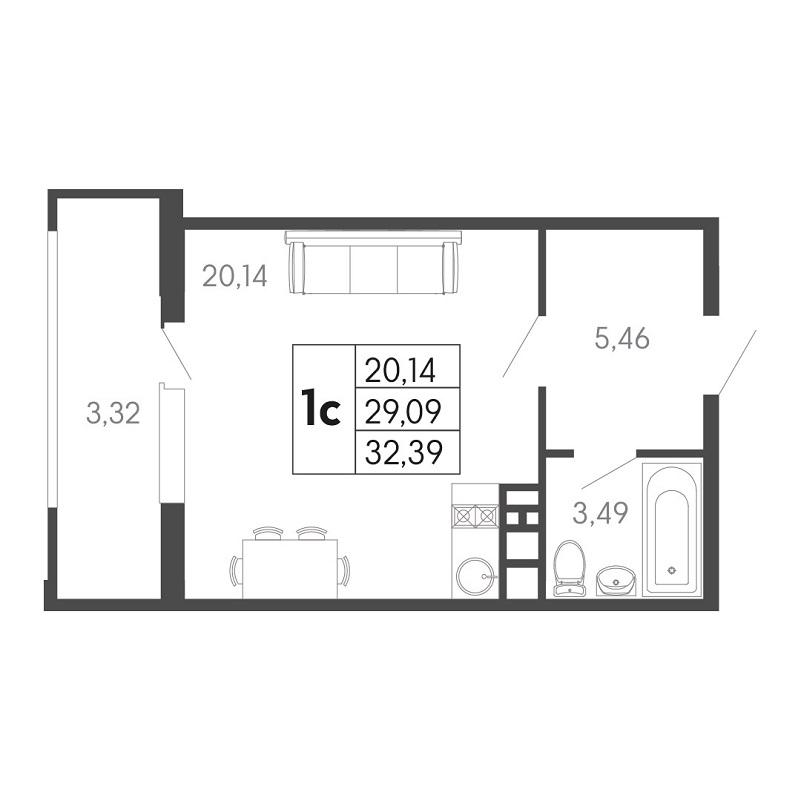 Планировка квартиры студии на продажу, S = 32,39 / 20,14 м²