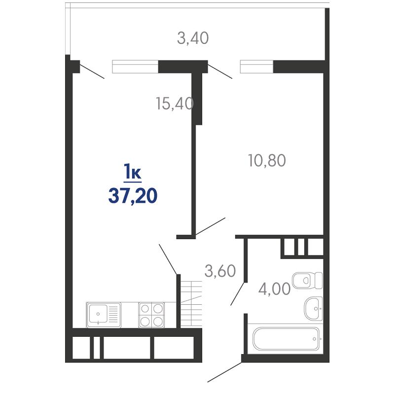 Планировка 1-к квартиры на продажу, S = 37,20 / 15,40 м²