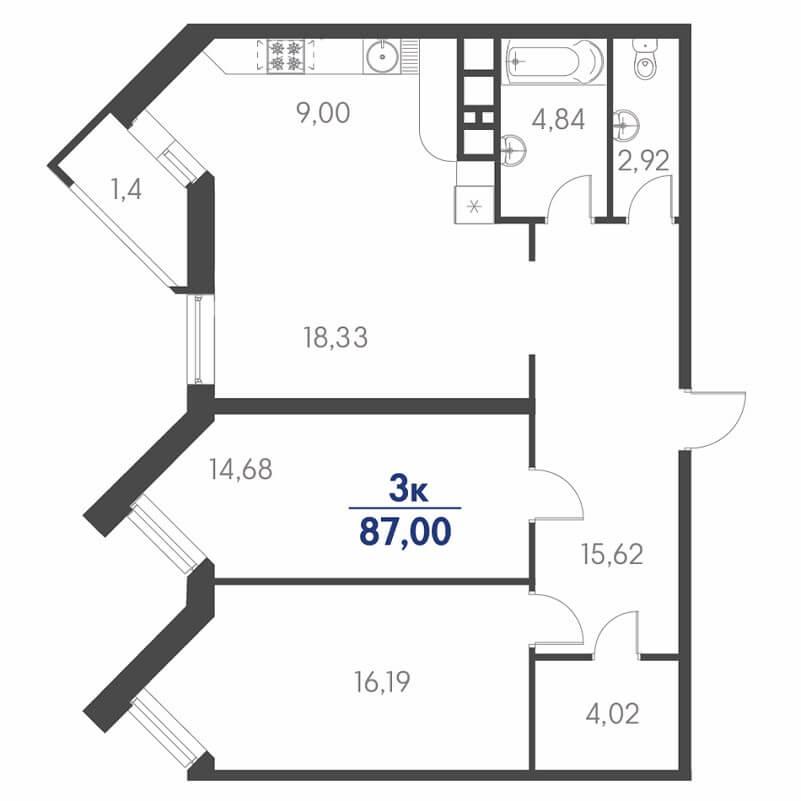Европланировка 3-к квартиры на продажу, S = 87,00 / 49,20 м²