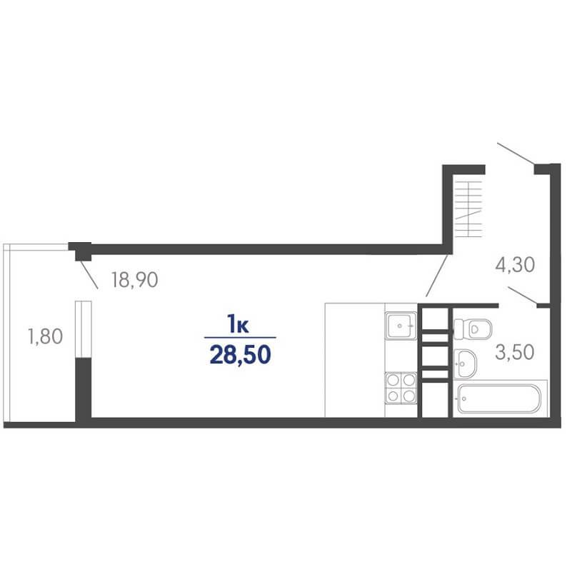 Планировка квартиры студии на продажу, S = 28,50 / 18,90 м²