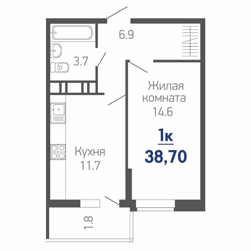 Планировка однокомнатной квартиры на продажу, S = 38,70 / 14,60 м²