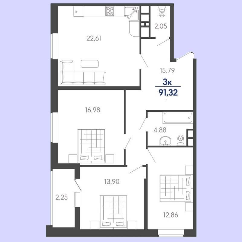 Планировка евро 3 комнатной квартиры № 73 на продажу, S = 91,32 / 43,74 м²