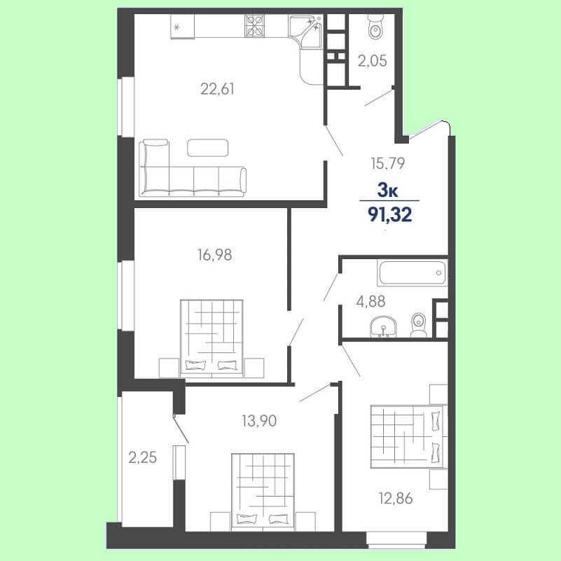 Планировка евро трехкомнатной квартиры № 100 на продажу, S = 91,32 / 43,74 м²