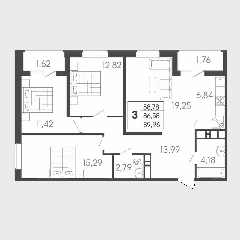 Евро 3-х комнатная квартира - планировка 89,96 / 58,78 м²