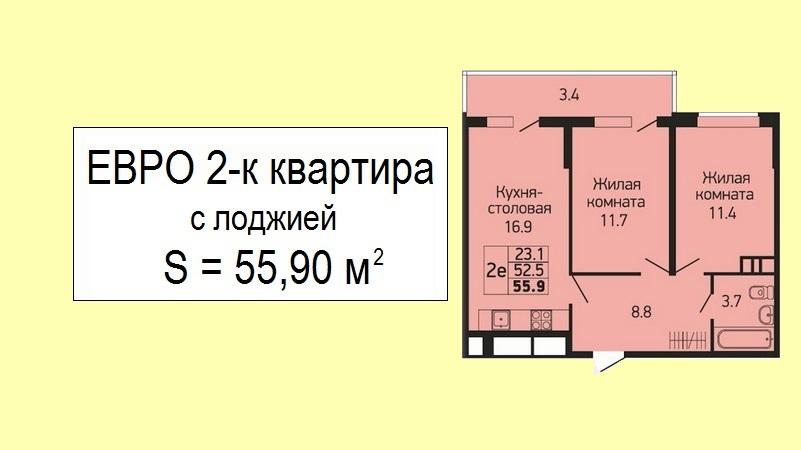 Квартира евродвушка планировка 55 кв.м. на продажу в Краснодаре от застройщика - ЖК Абрикосово, 13 этаж