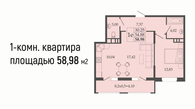 Планировка еврооднушки 58 м2 на продажу в ЖК Родные просторы, этаж 1, Литер 9 от застройщика ЮгСтройИмпериал, Краснодар, Знаменский