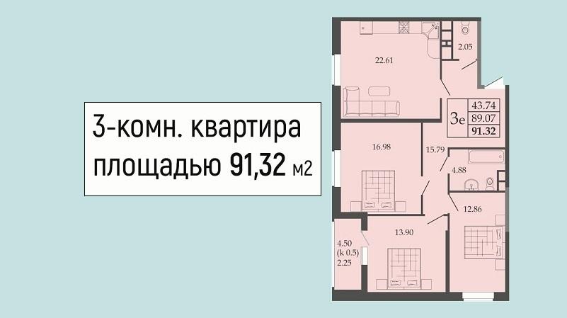 Планировка евротрешки № 109 на продажу в Краснодаре от застройщика ЖК Родные просторы, этаж 13, Литер 1, ЮгСтройИмпериал