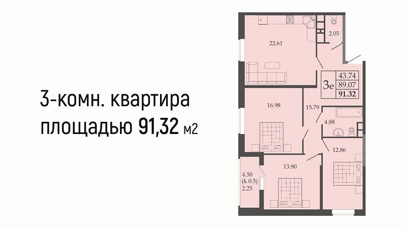 Планировка евротрешки № 37 на продажу в Краснодаре от застройщика ЖК Родные просторы, этаж 5, Литер 1, ЮгСтройИмпериал