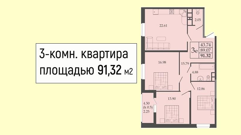 Планировка евротрешки № 46 на продажу в Краснодаре от застройщика ЖК Родные просторы, этаж 6, Литер 1, ЮгСтройИмпериал