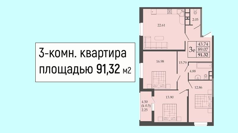 Планировка евротрешки № 64 на продажу в Краснодаре от застройщика ЖК Родные просторы, этаж 8, Литер 1, ЮгСтройИмпериал