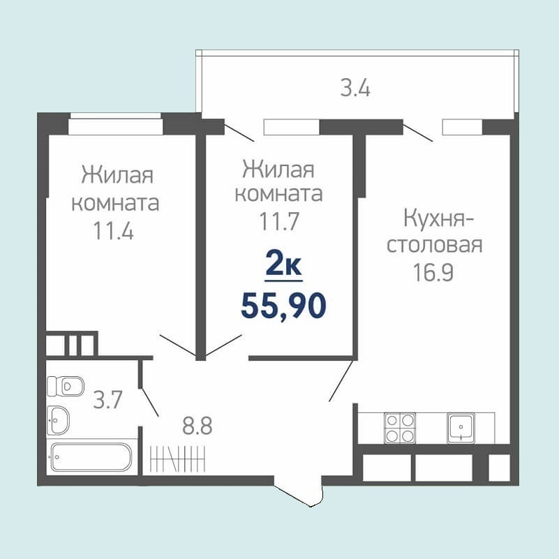 Планировка евро двухкомнатной квартиры на продажу 55,90 кв.м. (жилая площадь - 23,10 кв.м.)