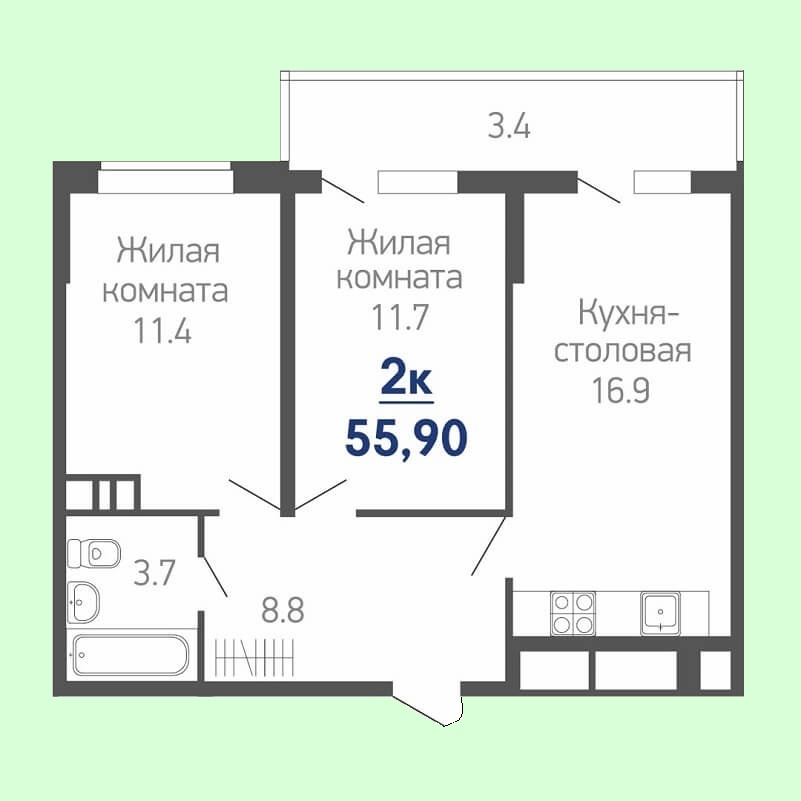 Планировка квартиры евро 2 комнатной 55,90 кв.м. (жилая площадь - 23,10 кв.м.)