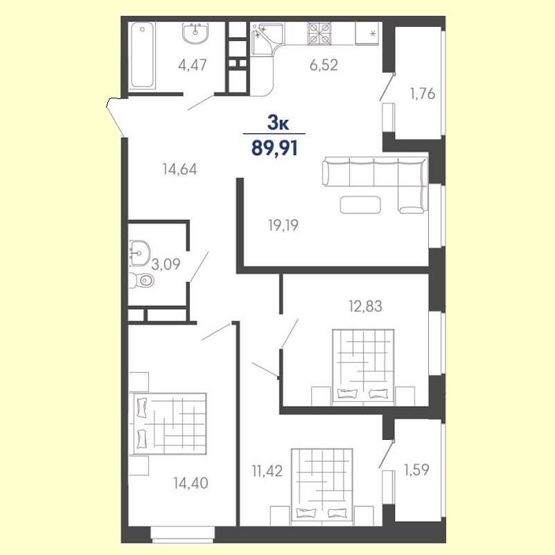 Квартира евро трешка планировка, S = 89,91 / 57,84 м²