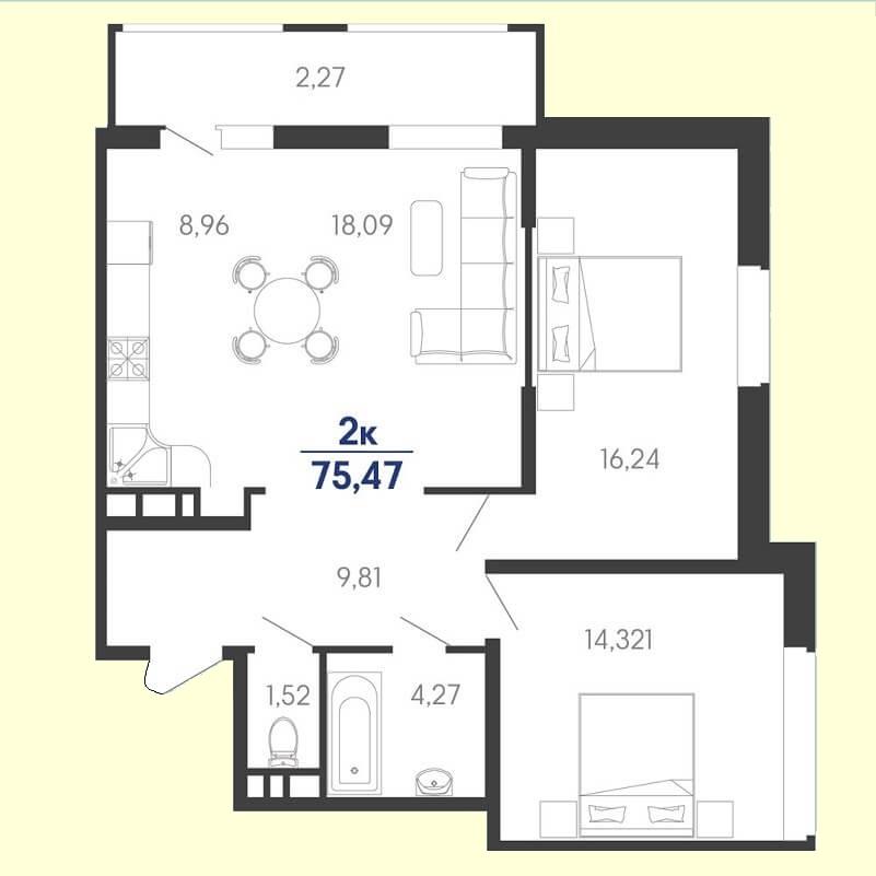 Планировка евродвушки № 113 на продажу, S = 75,47 / 30,56 м²
