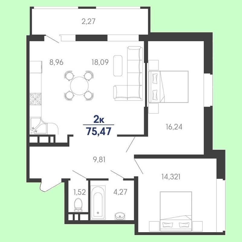 Планировка евродвушки № 123 на продажу, S = 75,47 / 30,56 м²