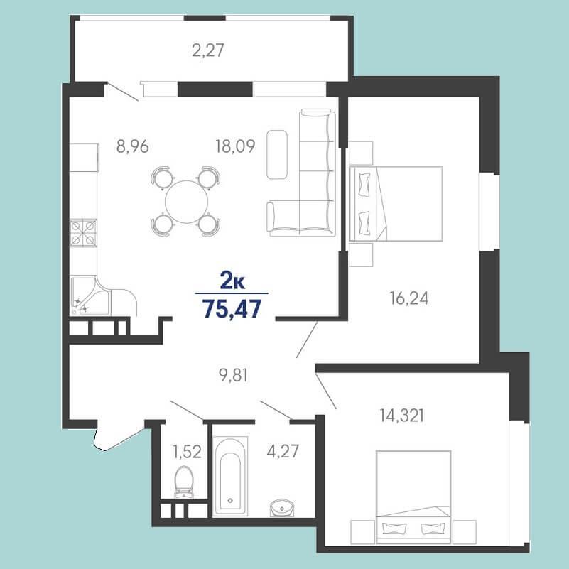 Планировка евродвушки № 173 на продажу, S = 75,47 / 30,56 м²