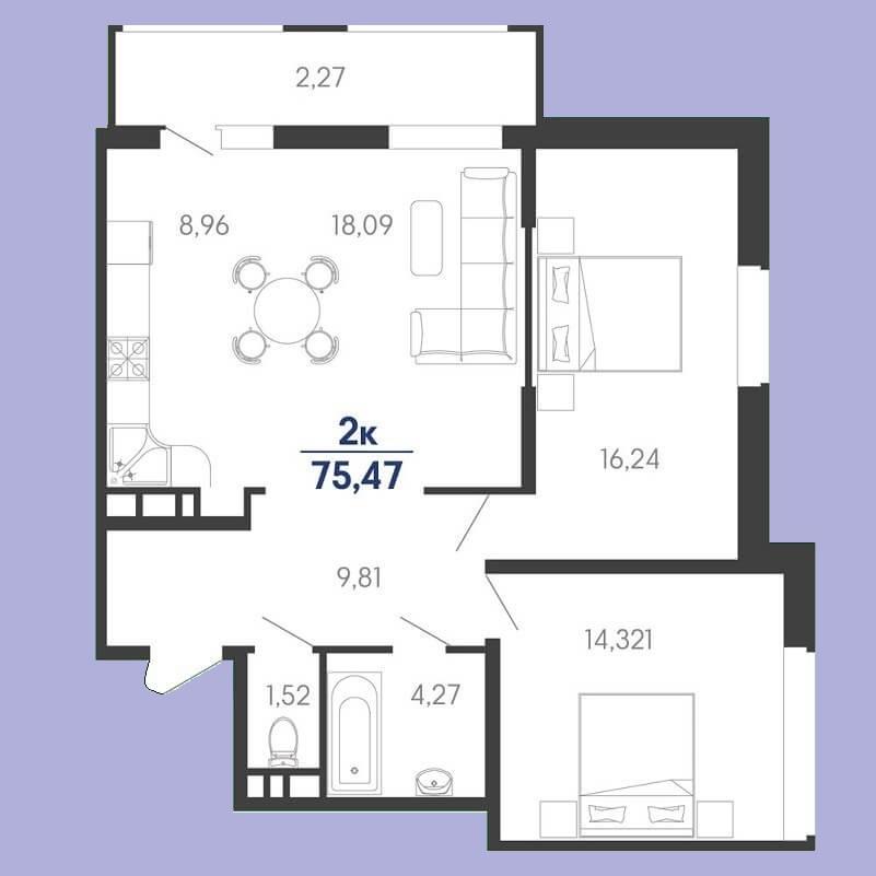 Продается евродвушка № 42 в Знаменском, ЖК Родные просторы, этаж 5, Литер 10 от застройщика ЮгСтройИмпериал, Краснодар
