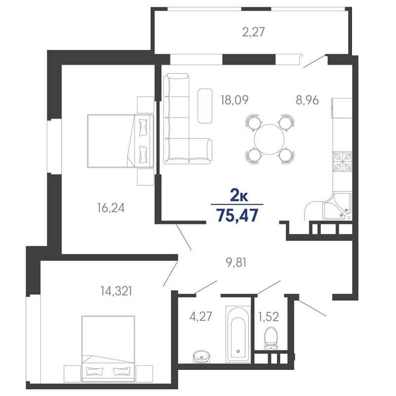 Планировка евродвушки на продажу, S = 75,47 / 48,65 м²
