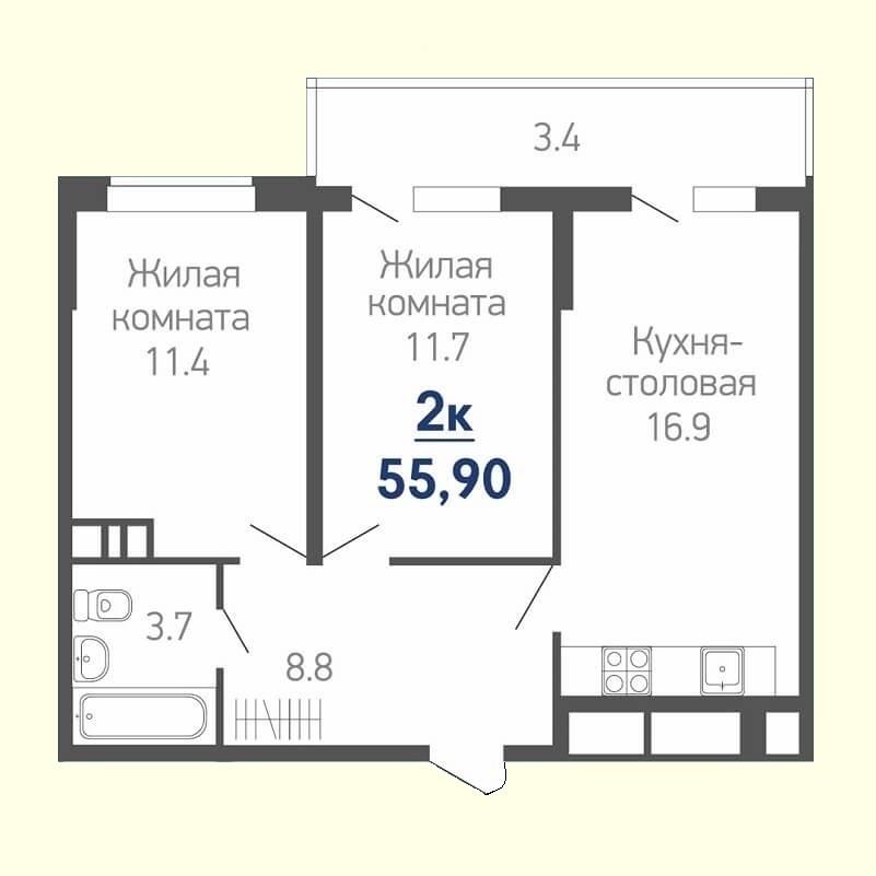 План квартиры евродвушка 55,90 кв.м. (жилая площадь - 23,10 кв.м.)