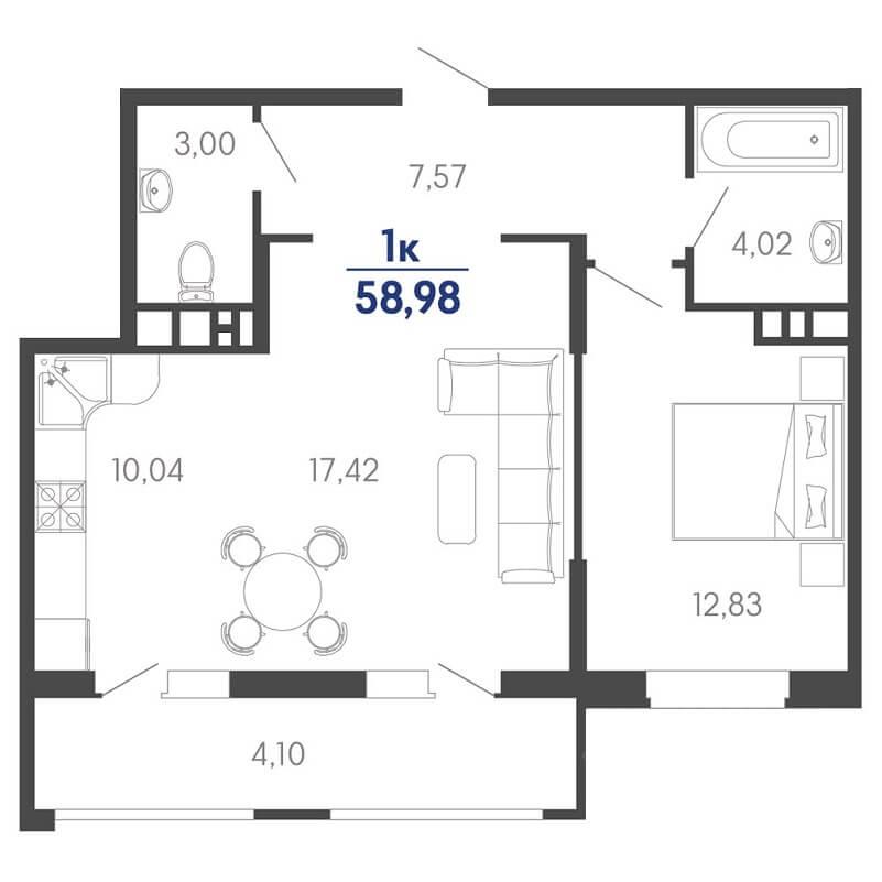 Планировка еврооднушки № 8 на продажу, S = 58,98 / 30,25 м²