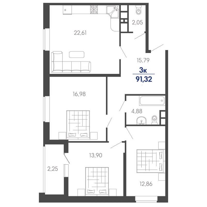 Планировка евротрешки № 37 на продажу, S = 91,32 / 43,74 м²