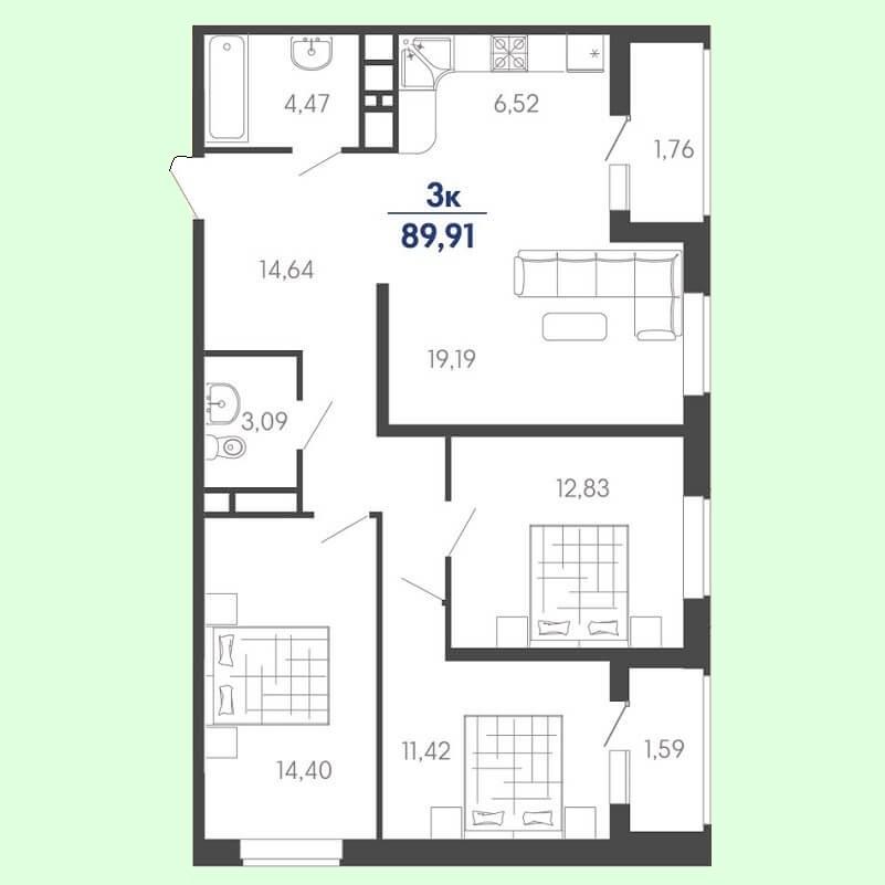 Планировка евро 3 комнатной квартиры, S = 89,91 / 57,84 м²