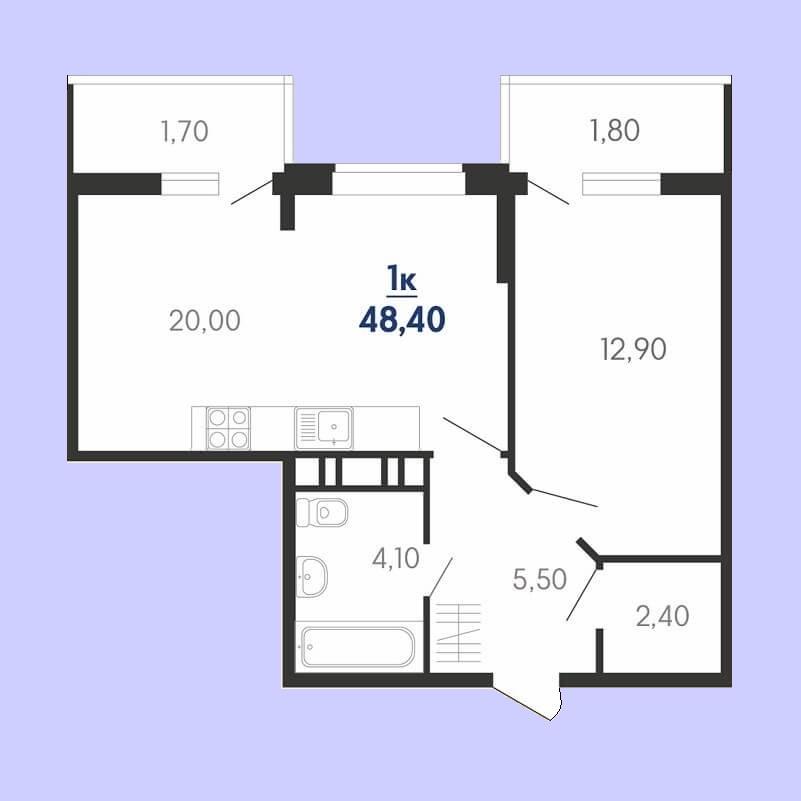Евро 1 комнатная квартира планировка, S = 48,40 / 12,90 м²
