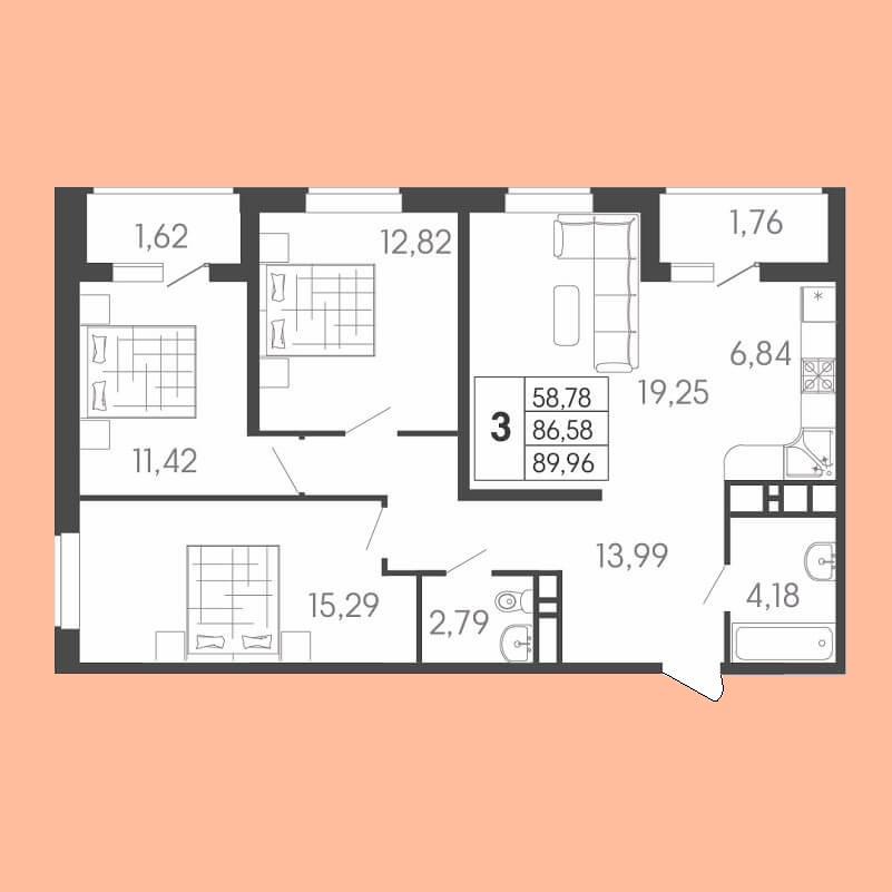 Евро трехкомнатная квартира планировка, S = 89,96 / 58,78 м²