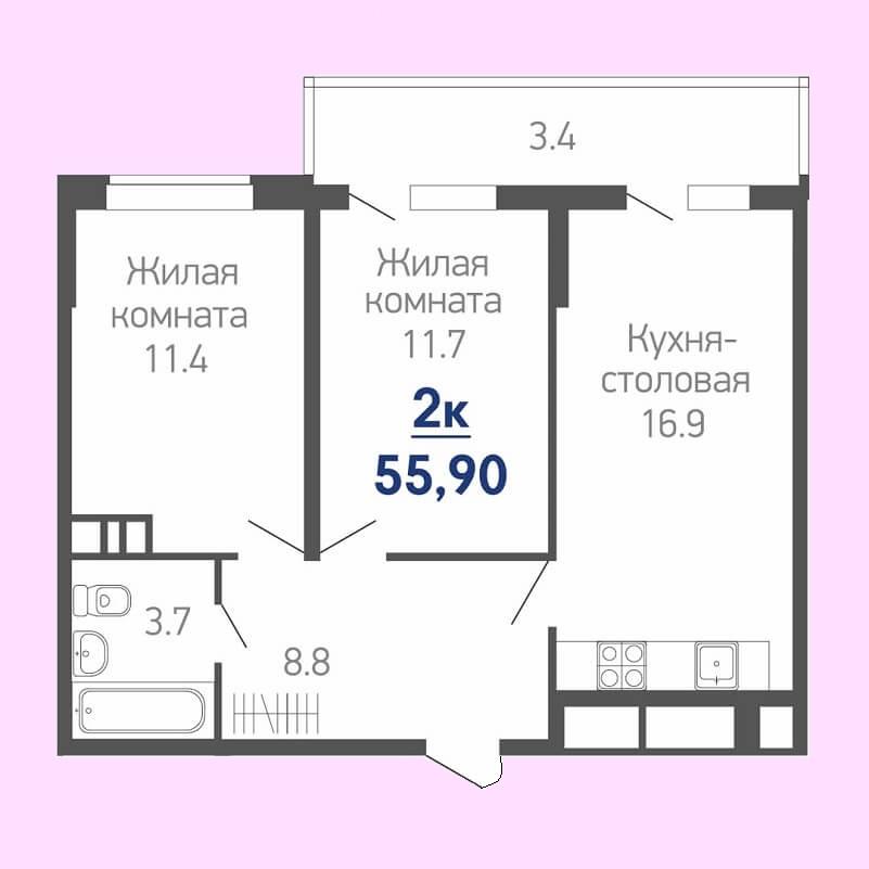 Планировка евродвушки 55,90 кв.м. (жилая площадь - 23,10 кв.м.)