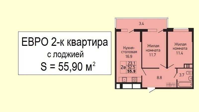 2 комнатная евроквартира планировка 55 кв.м. от застройщика - ЖК Абрикосово, 24 этаж