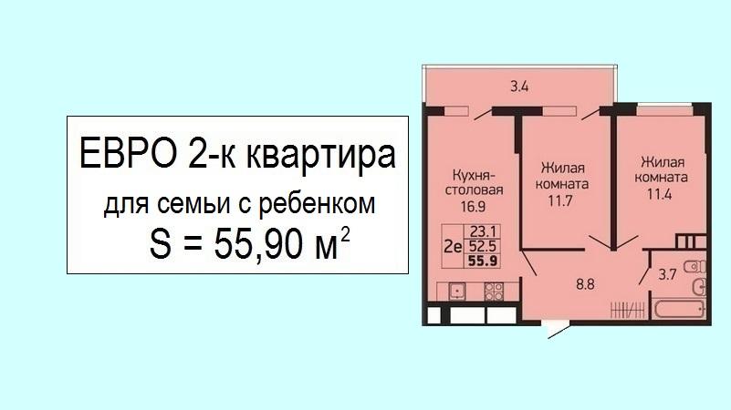 Евродвушка для семьи с ребенком планировка 55 кв.м. от застройщика - ЖК Абрикосово, 3 этаж