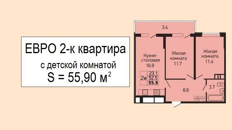 Евродвушка с детской планировка 55 м2 от застройщика - ЖК Абрикосово, 4 этаж