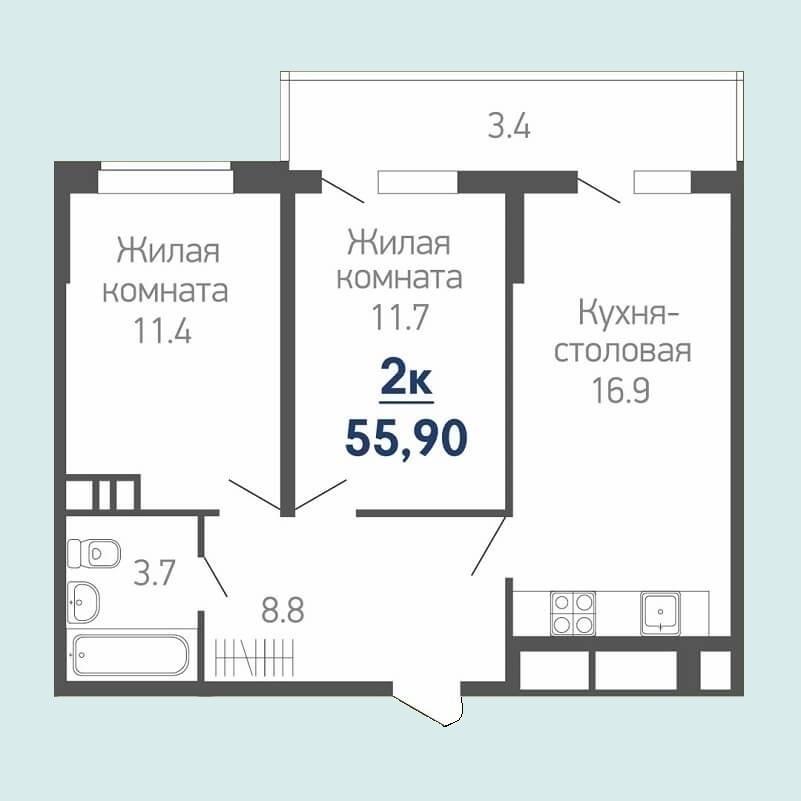 Евро двухкомнатная квартира планировка фото - общая площадь 55,90 кв.м., жилая - 23,10 кв.м.