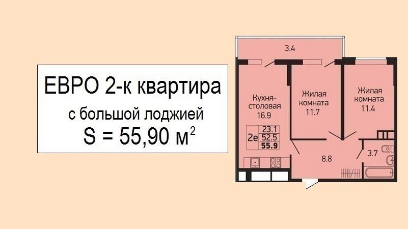 Купить евродвушку в Краснодаре планировка 55 м2 - ЖК Абрикосово, 21 этаж