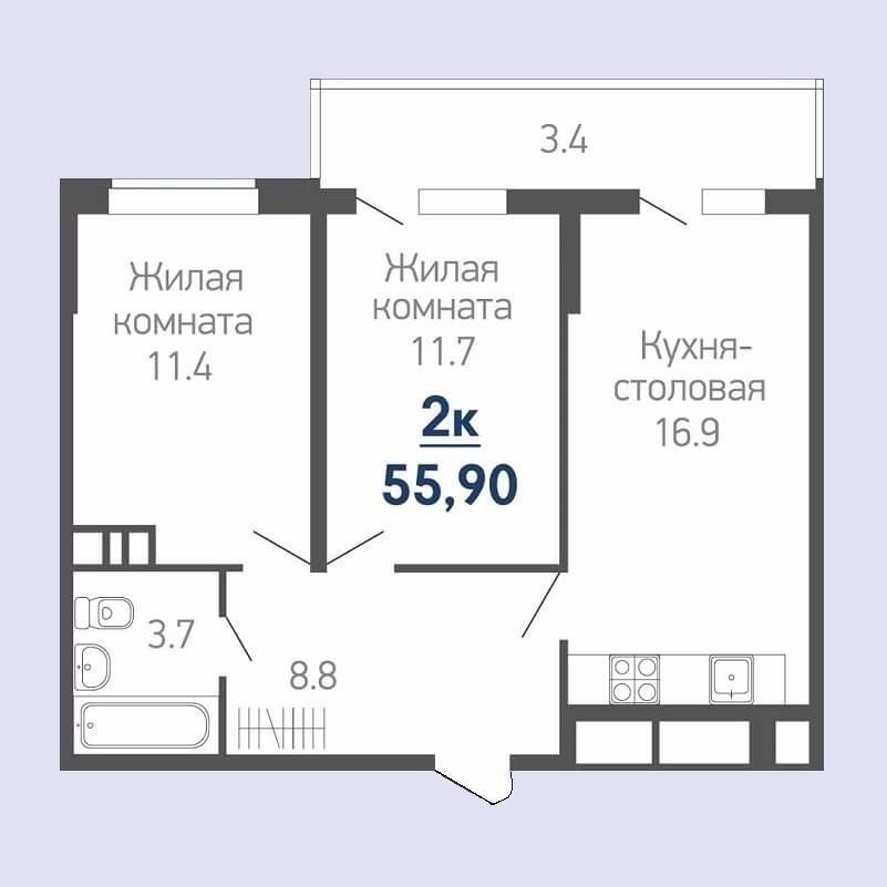 Планировка евро двушки - 55,90 м2 (жилая - 23,10 м2)